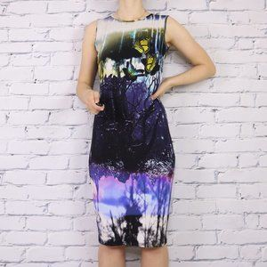Top Shop butterfly forest print bodycon dress c1